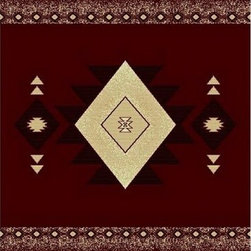 Rug Factory - Mayan Collection Style Tribal436 Burgundy 2' x 3' Size Area Rug - Mayan collection style Tribal436 Burgundy 2' x 3' size area rug. Persian, Egyptian and classical themed , made with 100% Polypropylene.