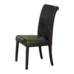 Homelegance - Homelegance Sierra Parson Chair with Rollback - The glass topped Sierra collection adds flair to any contemporary casual dining space. The ebony finish is set off by a chrome accent ring furthering its modern shape and appearance. Available in regular height and counter height. Made of select hardwoods and veneers, chairs covered in black bi-cast vinyl.