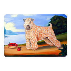 Caroline's Treasures - Wheaten Terrier Soft Coated Kitchen Or Bath Mat 24X36 - Kitchen or Bath COMFORT FLOOR MAT This mat is 24 inch by 36 inch.  Comfort Mat / Carpet / Rug that is Made and Printed in the USA. A foam cushion is attached to the bottom of the mat for comfort when standing. The mat has been permenantly dyed for moderate traffic. Durable and fade resistant. The back of the mat is rubber backed to keep the mat from slipping on a smooth floor. Use pressure and water from garden hose or power washer to clean the mat.  Vacuuming only with the hard wood floor setting, as to not pull up the knap of the felt.   Avoid soap or cleaner that produces suds when cleaning.  It will be difficult to get the suds out of the mat.