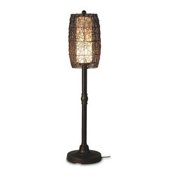 Patio Living Concepts - Patio Living Concepts Bristol Bristol 58 Inch Floor Lamp w/ 2 Inch Bronze Tube B - 58 Inch Floor Lamp w/ 2 Inch Bronze Tube Body & Random Weave Walnut Wicker Barrel Shade belongs to Bristol Collection by Patio Living Concepts Hand woven random weave walnut PVC wicker barrel shade enclosing an opal cylinder of light highlights this carefree durable contemporary outdoor lamp. Features weatherproof all resin construction with heavy weighted base, two level dimming switch and 12 ft. weatherproof cord and plug. Durable acrylic waterproof light bulb enclosure allows the use of a standard 100 watt light bulb. Model # 68277 Lamp (1)