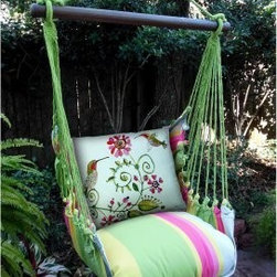 Magnolia Casual Hummingbirds Hammock Chair & Pillow Set - With the Magnolia Casual Hummingbirds Hammock Chair & Pillow Set, you'll be all set to enjoy warm summer days and evenings like never before. Made of weather-, fade-, and-mildew-resistant 100% polyester Sundure fabric, this hammock chair offers the soft, natural feel of cotton, making it way more comfy than quilted hammocks. Plus, the plush, 100% polyester-insert seat pillow and back pillow envelop you in such luxurious comfort that you end up enjoying the outdoors more than you ever did. The seat pillow with yellow, green, pink, and blue stripes matches the rest of the chair, while hummingbirds and floral patterns on the back pillow make the set just right for summer. A matching tote bag makes it super easy to carry this hammock with you when you go on vacations. The wood spreader bar is attached to 100% polyester rope for extra sturdiness, while zippered, machine-washable pillow covers make cleaning this hammock chair a breeze.About Magnolia CasualMagnolia Casual sweeps you off your feet and into the relaxation zone by offering a wide variety of hammocks and swings, along with complementary comfortable pillows manufactured from fade- and mildew-resistant polyester that holds up well to outdoor use.Based in Pascagoula, Miss., Magnolia Casual's Sundure Fabrics are colorful, and the hammocks and swings are built for durability and years of enjoyment. The company also offers shower and hamper curtains that will brighten your home.