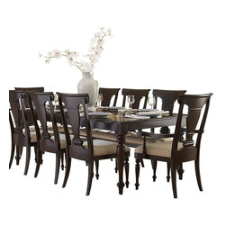 Homelegance - Homelegance Inglewood 8 Piece Rectangular Dining Room Set in Cherry - Sophistication merges with elegant lines and classic shapes in the Inglewood Collection. The bold server features wood & silver accented drawer knobs and glass door fronts, all accenting the deep cherry finish of the group. Turned legs support the classic