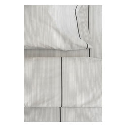 Area Inc. - Thin Graphite Queen Fitted Sheet - Area Inc. - Update your bedding with the simple and chic Thin Graphite Queen Fitted Sheet. Made from cotton percale, this white sheet features thin graphite gray vertical stripes interspersed with thick lines. Pair it with the Thin Graphite Duvet Cover for a clean, cohesive look.