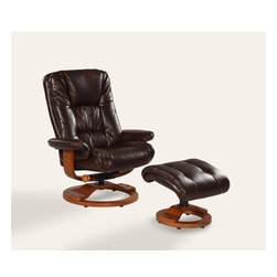 "Mac Motion - Oslo Collection Espresso Brown Bonded Leather Swivel Recliner w/ Ottoman - Norwegian styling never had it so good, with this unique 2 pc matching chair and ottoman, from the ""Oslo Collection"". Nested within the strong selective hardwood frame with a warm ""Walnut"" wood frame finish, to match its accented ottoman, this is the winner! Offering a pillow top back rest along the back cushion, along with ""MX-2"" memory foam throughout, makes for therapy comfort, support and styling. All within a standard seating area is this models overall width of only 30"". It fits very comfortably within most areas of the home. Features include 360 degree swivel, multiple adjustment recline for personalized positions and matching ottoman. Both pieces are covered in bonded leather, everywhere you touch. This ""Espresso"" bonded leather color is complimented by the warm ""Walnut"" wood frame finish, of the quality euro style frame."