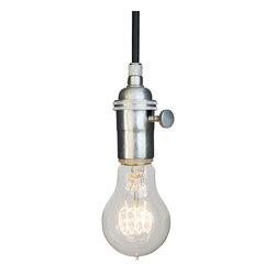 Hammers & Heels - Brushed Nickel & Cloth Cord Bare Bulb Pendant Light - THE MINIMALIST BARE BULB PENDANT LIGHT.