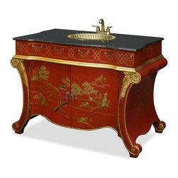 "China Furniture and Arts - French Style Vanity Cabinet - Luxurious in old European style, our vanity cabinet has a brass sink and faucet built in. Comes complete with a black granite top. Hand crafted rich gold highlighted Chinoiserie scenery over matte red maroon finish. One shelf behind doors provides roomy space to store you bathroom accessories. Matching brass doorknobs. A rare item to find for creating a touch of opulence for your bathroom. (Granite top is 45""W.)"