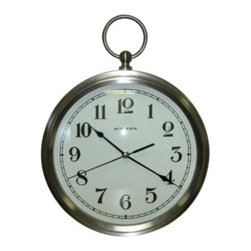 "Westclox - 12""Pocket Watch Wall Clock - Convex Glass lens. Pocket watch wall clock. Uses one AA battery (Not Included).          12"" Dia.  Finish=Nickel Brush"