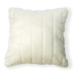 "Best Home Fashions - Faux Fur Pillow Mink 18"""" square Cover (Set of 2) - White - - Soft and cuddly our faux Mink pillow makes a perfect addition to any sofa"