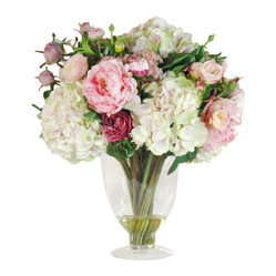 Winward - Garden Flowers In Glass Vase 23'' - Hydrangeas, peonies and roses come together to create the ultimate permanent display of springtime flowers. But there's no reason you can't enjoy its beauty all year long. Keep this bouquet on your dining room table and imagine yourself transported to the English countryside.