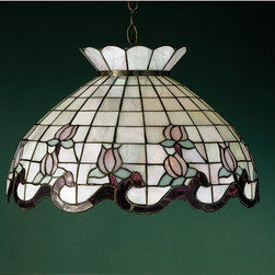 """Meyda Tiffany - Meyda Tiffany 31211 Stained Glass / Tiffany Down Lighting Pendant Roseb - *20"""" W Roseborder Pendant Grace Your Home With This Elegant Crowned Shade, Featuring A Grid work Of Opal Iridized Glass, Adorned With A Plum Colored Border Of Swirling Ribbons and Perfect Rosebuds Includes 3 feet of chain and 4 feet of wire Adjustable height from 15""""-50"""" 3 100w max medium base bulbs (Not Included)"""