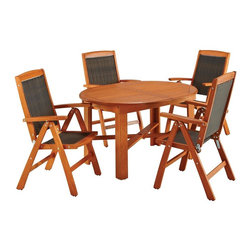 HomeStyles - Bali Hai 5PC Outdoor Dining Set - Eco-friendly, plantation grown Shorea wood. Hidden butterfly leaf. 7-position adjustable chair back. Stainless steel hardware. Table Dimensions: 51.5 in. W X  43.5 in. D X  29.75 in. H. Chair Dimensions: 25 in. W X  24.75 in. D X  42.5 in. HCreate an island oasis on your porch or patio with a Home Styles Bali Hai Outdoor 5PC Dining Set. Showcasing an island inspired design in a versatile eucalyptus finish and constructed of eco-friendly, plantation grown shorea wood which is known for its exceptional durability and natural resistance to water.  This set is designed to provide endless hours of outdoor entertainment use.  Features include hidden butterfly leaf that can be stored under table when not in use, a 2-inch umbrella opening to accommodate a standard sized umbrella, and chairs have a 7-position adjustable back. Chairs also feature a two-tone woven wicker seat and back, and are foldable for easy storage. Set includes oval dining table and four dining chairs. Table Size: 51.5w 43.5d 29.75h; w/ leaf 67.25w 43.5d x 29.75h. Chair Size: 25w 24.75d 42.5h, each.