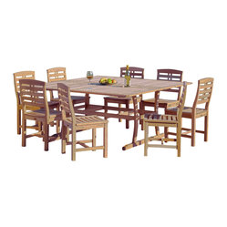 Great Deal Furniture - Palazzo Luxury 9pcs Outdoor Dining Set - Enjoy the beauty and serenity of the outdoors with our luxury Palazzo 9pcs Outdoor Dining Set.  Characterized by clean lines and subtle curves, this warm and inviting patio set is constructed of strong and durable High Density Eucalyptus hardwood (Shorea). The biggest attribute of High Density Eucalyptus (Shorea) is undoubtedly the strength of the timber. Its renowned for its excellent resistance to every day wear and tear. It is extremely durable and tightly grained to produce a desirable density. It remains unaffected by all variations in weather, especially its resistance to damp conditions makes itself extremely competent at combating insect attacks and decay. If left untreated, each piece will weather to a nice shade of gray. The weathering process will change the color, but the grain will still be smooth. There is no splitting or splintering. You may treat each piece of your set with teak oil to prolong weathering. The Palazzo set features 8 chairs and a table features elegantly designed base and an umbrella hole pre-installed for your convenience.  Homes, modern and rustic alike, will glisten as they feature an outdoor piece suited for a plethora of uses, whether it be a casual family dinner or upscale event.