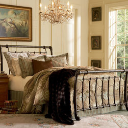 "Fashion Bed Group - Legion With Frame in Ancient Gold Finish - Queen - The Legion is a grand-scale metal sleigh bed with a commanding presence. The 54"" headboard and 34"" footboard are festooned with multiple castings, have 2""ornate twisted ""rope"" top rails and elegant curved posts - which on the footboard, end in decorative scrolled feet. The bed has a lovely hand-applied multi-step finish of Ancient Gold - a copper base stippled with gold. This beautiful bed can be dressed with a variety of bedding ensembles, will go with numerous case good finishes and will become the focal point in any bedroom."