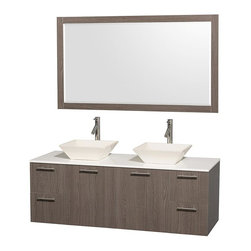 Wyndham Collection - Wall-Mount Bathroom Vanity Set - Includes two sinks, white man-made stone top, mirror, drain assemblies and P-traps for easy assembly. Faucets not included. Square bone porcelain sinks. Two functional doors. Concealed soft close door hinges. Modern brushed chrome door pulls. Unique and striking contemporary design. Four functional drawers. Fully-extending soft-close drawer slides. Deep doweled drawers. Single-hole faucet mount. Plenty of storage space. Eight-stage preparation, veneering and finishing process. Highly water-resistant low V.O.C. sealed finish. Metal exterior hardware with brushed chrome finish. Wall-mount design. Mirror glass thickness: 0.75 in.. Warranty: Two years limited. Made from beautiful veneers over highest quality grade E1 MDF. Gray oak finish. Door: 17.25 in. W x 20.5 in. H. Drawer: 12.63 in. W x 10.13 in. H. Mirror: 58 in. W x 33 in. H (67 lbs.). Vanity: 60 in. W x 22.25 in. D x 21.25 in. H (124 lbs.). Handling Instructions. Installation Instructions - Mirror. Installation Instructions - VanityModern clean lines and a truly elegant design aesthetic meet affordability in the Wyndham Collection Amare Vanity. Each vanity provides a full complement of storage areas behind sturdy soft-close doors and drawers. A wall-mounted vanity leaves space in your bathroom for you to relax. The simple clean lines of the Amare wall-mounted vanity family are no-fuss and all style.
