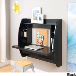 Prepac - Floating Desk with Storage - The space-saving design of this contemporary black floating desk with storage is great for creating a stylish and functional work area within smaller environments. Easy to mount,this desk makes the perfect addition to any modern home office.