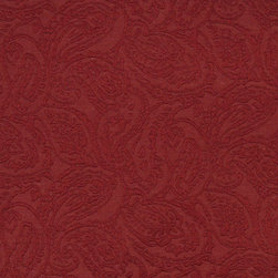 Red Traditional Paisley Woven Matelasse Upholstery Grade Fabric By The Yard - This material is great for indoor upholstery applications. This Matelasse is rated heavy duty, and is upholstery weight. It is woven for enhanced appearance.
