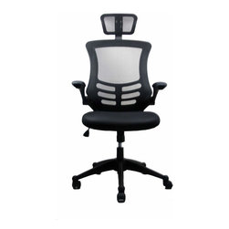 Techni Mobili - Techni Mobili Executive High Back Chair w/ Headrest in Black - Executive High Back Chair w/ Headrest in Black by Techni Mobli The TechniMobili Executive High Back Mesh Chairs has a sleek, contemporary design and features breathable open mesh back support, a contoured mesh fabric seat cushion, height-adjustable headrest, padded flip-up armrests. The reclining back has a locking lever and a tension control knob. Includes dual non-marking casters and 5-star heavy-duty nylon base, which provides stable mobility. Ready and easy to assemble. COLOR: BLACK  Office Chair (1)