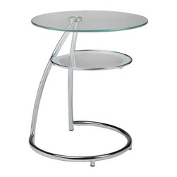 """Pastel Furniture - Pastel Furniture Hatfield 20 Inch Round End Table w/ Glass Top in Chrome - The Hatfield end table is a simple yet elegant design that can add that stylish and modern flair to your living area. This end table is made with chrome frame with a 20"""" round glass top."""