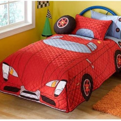 My New Car Twin Quilt w/Sham - Your little race car driver will ZOOOOOM into bed with this car quilt and sham. Hand-quilted, this unique piece will provide a center piece for the room's decor without having to add much more detailing and decor. Start your engines.