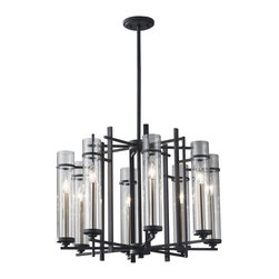Murray Feiss - Murray Feiss Ethan Transitional Chandelier X-SB/FA8/8262F - The Murray Feiss Ethan Transitional chandelier provides a touch of architectural design with its structured steel frame. Combining the antique forged iron and brushed steel finish provide a sleek, modern look for the chandelier. The clear glass shades provide a softer look and emit bright, evenly lighting.