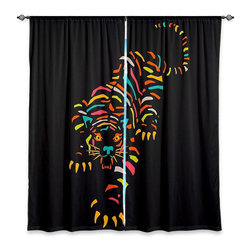 """DiaNoche Designs - Window Curtains Lined by Jazzberry Blue Tiger Brown - Purchasing window curtains just got easier and better! Create a designer look to any of your living spaces with our decorative and unique """"Lined Window Curtains."""" Perfect for the living room, dining room or bedroom, these artistic curtains are an easy and inexpensive way to add color and style when decorating your home.  This is a woven poly material that filters outside light and creates a privacy barrier.  Each package includes two easy-to-hang, 3 inch diameter pole-pocket curtain panels.  The width listed is the total measurement of the two panels.  Curtain rod sold separately. Easy care, machine wash cold, tumble dry low, iron low if needed.  Printed in the USA."""