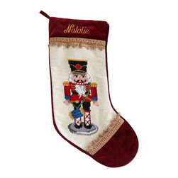 """Horchow - Red Nutcracker Christmas Stocking Monogrammed - Red Nutcracker Christmas Stocking MonogrammedHighlightsShown far left.Exclusively ours.Handcrafted with wool needlepoint on face.Specify name (up to seven characters/spaces).11""""W x 18""""L.Dry clean.Imported.You will be able to specify personalization details after adding item(s) to your shopping cart. Please order carefully. Orders for personalized items cannot be canceled and personalized items cannot be returned."""
