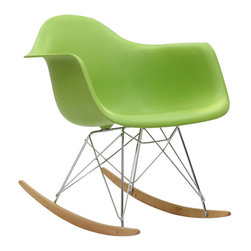 Modway - Rocker Rocking Chair in Green - Not Grandma's rocking chair, this mid-century retro modern rocker, has the avant garde style of today that adds pizzazz to your room. Still a comfortable seat for lulling children to sleep or moving in time to music, this rocking chair is the symbol of the modern home.