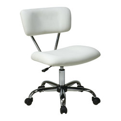 Office Star - Office Star Avenue Six Vista Task Office Chair in White Vinyl - Vista task office chair in white vinyl