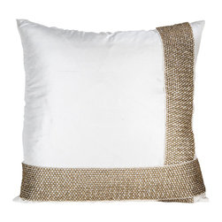 Pyra & Co - Asha Pillow, 18x18 - The meticulously crafted-by-hand chain-mail sash trim adds an elegant fluidity and chic touch to the classic white silk accent cushion. Simplicity in Style. Due to the handmade nature of each product, pieces may vary slightly and have imperfections.  These are elements that showcase the true beauty of truly being crafted-by-hand.