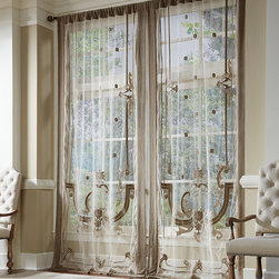 Frontgate - Victorian Drapery Panel - Woven of 100% linen. Rod pocket construction. In three sizes. Dry clean. Bring simple elegance to any room with our Victorian Drapery Panels. Sewn from luxurious linen, these exquisite drapes are hand-embroidered and appliqued with a contemporized Renaissance cartouche.  .  .  .  .