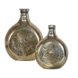Uttermost - Uttermost 19813 Euryl - 15.5 Vase Urn and Finial - Set of 2 Mercury Finish - Mercury style glass. Sizes: Small-10 x 13 x 4,Large-12 x 16 x 5