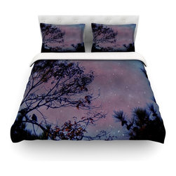 """Kess InHouse - Robin Dickinson """"Twilight"""" Purple Tree Cotton Duvet Cover (Queen, 88"""" x 88"""") - Rest in comfort among this artistically inclined cotton blend duvet cover. This duvet cover is as light as a feather! You will be sure to be the envy of all of your guests with this aesthetically pleasing duvet. We highly recommend washing this as many times as you like as this material will not fade or lose comfort. Cotton blended, this duvet cover is not only beautiful and artistic but can be used year round with a duvet insert! Add our cotton shams to make your bed complete and looking stylish and artistic! Pillowcases not included."""