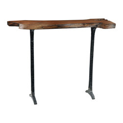 TerraSur - Fortaleza Console - Out of the words. This console is rustic yet refined, allowing you to mix it up with modern and traditional furnishing alike. Its hand-carved top with free-form edges is held aloft by slim, solid steel legs.