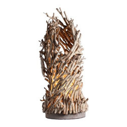 Wood Fireflame Handmade Designer Decorative Home Table Lamp - This desk lamp is in round solid wood base. The tea tree branches constitute the skeleton and the shade. From the outside, it is like a bunch of branches, but there is one light bulb in side, makes it bright and stylish.