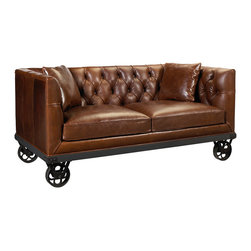 Kathy Kuo Home - Mouille Industrial Loft Wheels Rich Brown Leather Sofa - Lose yourself in the luxurious, tufted leather upholstery of this warm, welcoming sofa. The high arms and back surround you in soft, supple leather while the sumptuous pillows provide plush comfort. Four metal casters add an Industrial element, enabling movement of this masterpiece to anywhere you wish. Made to order in the USA; please allow 6-12 weeks lead time to ship.