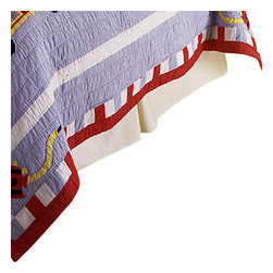 Pem America - Cotton Fire Truck Queen Bed Skirt - Antique fire trucks for your little fire fighter.  The fire trucks are hand sewn to the quilt with a cooling blue background and bright red firetrucks.  The face of the quilt feature a white frame on the deck and edged in a dramatic red.  Look closely and you will see playful Dalmatians along for the ride! Queen bed skirt fits mattresses 60x80 inches. 14 inch drop of 100% cotton. Machine washable.