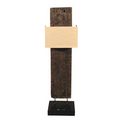 """MBW Furniture - Teak Wood Rustic Art Deco Vertical Floor Lamp - This is a beautiful teak wood Art Deco lamp. It features a vertical piece of old teak wood that has a traditional pattern with a lovely shaped shade. The piece of wood has 2 metal supports over an elegant black wooden base. It also includes its ac cord with a convenient on/off switch, however a power converter adapter is needed in order for the plug to fit standard US electrical outlets. The base has a metal plaque that reads, """"This piece of wood is coming from a Hindu Temple, and believed to attract Fortune and Positive Energy."""" It is a beautiful piece that will make a lovely addition to any room."""