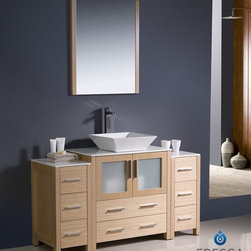 "Fresca - Fresca Torino 54"" Modern Bathroom Vanity w/ Two Side Cabinets & Vessel Sink - Li - Fresca is pleased to usher in a new age of customization with the introduction of its Torino line. The frosted glass panels of the doors balance out the sleek and modern lines of Torino, allowing it to fit perfectly in both 'Town' and 'Country' décor.The Fresco Torino bathroom vanity is 54"" wide and 33.75"" high, and boasts 18.13"" deep under-sink storage space – perfect for towels and other bathroom necessities. This bathroom vanity is completed with a 25.5"" wide x 31.5"" high x 1.25"" deep wall mounted mirror for optimal function and style.Items included: Main Vanity Cabinet(s), Countertop(s), Vessel/Integrated Sink(s), Mirror(s), Faucet(s), P-Trap and Pop-Up Drain(s), Standard hardware needed for installation.DecorPlanet is proud to offer Fresca Bathroom products. Fresca is a leading manufacturer of high-quality vanities, accessories, toilets, faucets, and everything else to give you the freshest bathroom in the neighborhood. Fresca is known for carrying the latest and most popular styles in modern and contemporary bathroom design that are made with high quality materials and superior workmanship."