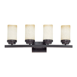 Patina Bronze And Saddle Stone Glass 4 Light Energy Star Vanity Wall - Condition: New - in box