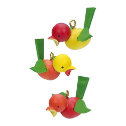 Alexander Taron - Alexander Taron Christian Ulbricht Ornament- Birds (No Strings)- .5H x 1.5W x 1D - Christian Ulbricht ornament - Assorted colors of birds with wings (No strings) - Made in Germany. Also see #11/0022 - 11/0024 and 11/0026.