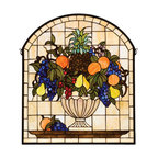 """Meyda - 25""""W X 29""""H Fruitbowl Stained Glass Window - A cornerstone beige background frames a bowl brimmingwith delectable concord blue and purple grapes,oranges, cerise cherries, golden pears and an amberpineapple nestled in garden green leaves. This meydatiffany window is handcrafted of stained art glassutilizing the copperfoil construction process and isencased in a solid brass frame. Mounting bracket andjack chain included."""