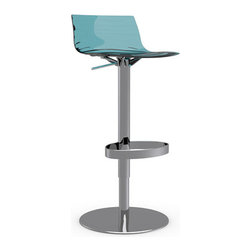 Calligaris - L'Eau Swiveling with Gas Lift Bar Stool, Transparent Aquamarine - A happy collection of colors and functionality, these swiveling bar stools feature a gas lift for easy height adjustment. Choose just the right color to accent your space, or choose all three for a trio of delights.
