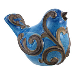 Zeckos - Blue Ceramic Bird Statue with Scroll Design - This ceramic bird statue adds an elegant accent to your home or garden. It is a beautiful blue color with a glossy finish, accented by bronze swirls. The bird measures 8 inches tall, 9 1/2 inches long, 6 inches wide, and has foam pads on the bottom to prevent it from scratching delicate surfaces in the home. This unique item is sure to be admired, and makes a great gift for a friend.