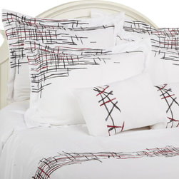 "Lily 7 Piece Duvet Cover Set, Queen - This Duvet Cover Set features an eclectic look. The abstract line patterns add a modern yet simple appeal to any bedroom. Set includes one duvet cover 90""x92"", two pillow shams 20""x26"" each, two euro shams 26""x26"" each, and two breakfast pillows 12""x18""."