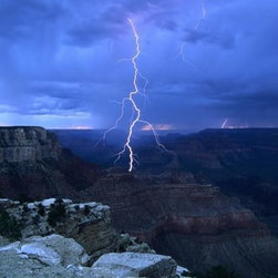 Wallmonkeys Wall Decals - Lightning above Grand Canyon Wall Mural - 72 Inches W x 47 Inches H - Easy to apply - simply peel and stick!