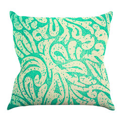 "Kess InHouse - Caleb Troy ""Teal Spring Paisley"" Throw Pillow (16"" x 16"") - Rest among the art you love. Transform your hang out room into a hip gallery, that's also comfortable. With this pillow you can create an environment that reflects your unique style. It's amazing what a throw pillow can do to complete a room. (Kess InHouse is not responsible for pillow fighting that may occur as the result of creative stimulation)."