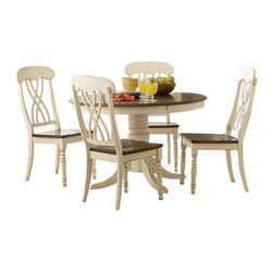 Homelegance - Homelegance Ohana 5 Piece Round Dining Table Set in Antique White and Warm Cherr - Homelegance - Dining Sets - 1393W485 - Ohana Collection captures the essence of a casual country home. Its appealing two tone color pallete of antique white and warm cherry finish as well as antique black and warm cherry finish contribute to a warm country living you will love having in your home. The solid wood table top supported by large turned legs and unique chair back design with solid wood chair seat provide superior quality that will last for years to come.