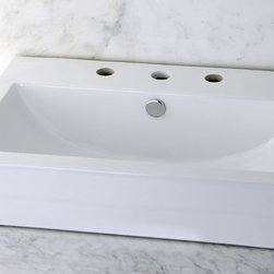 None - Vitreous China White Rectangular Vessel Bathroom Sink - Add simple and classic style to you bathroom with this vitreous china vessel sink. This china has been baked to create a surface that is stain and germ resistant. It is pre-drilled for mounting on a wall and makes a lasting and handsome addition.