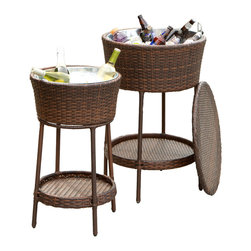 Great Deal Furniture - Boise Wicker Bucket 2pc Set - Keep your beverages ice cold with the stylish Boise wicker ice bucket. Complete with a matching lid, these caddies are essential for entertaining on those hot, sunny days. Whether you are having friends over, or just enjoying an intimate dinner for two, the Rosin is a great dining accessory.