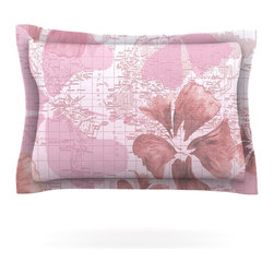 """Kess InHouse - Catherine Holcombe """"Flower Power Pink"""" Map Pillow Sham (Cotton, 30"""" x 20"""") - Pairing your already chic duvet cover with playful pillow shams is the perfect way to tie your bedroom together. There are endless possibilities to feed your artistic palette with these imaginative pillow shams. It will looks so elegant you won't want ruin the masterpiece you have created when you go to bed. Not only are these pillow shams nice to look at they are also made from a high quality cotton blend. They are so soft that they will elevate your sleep up to level that is beyond Cloud 9. We always print our goods with the highest quality printing process in order to maintain the integrity of the art that you are adeptly displaying. This means that you won't have to worry about your art fading or your sham loosing it's freshness."""